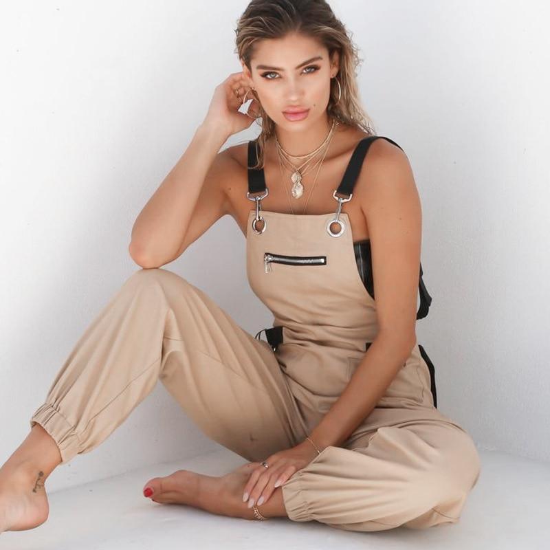 Hip Hop Patchwork Catsuits One-piece Coverall Pants Women High Waist Cargo Pants Capris Solid Colors Suspender Trousers Female
