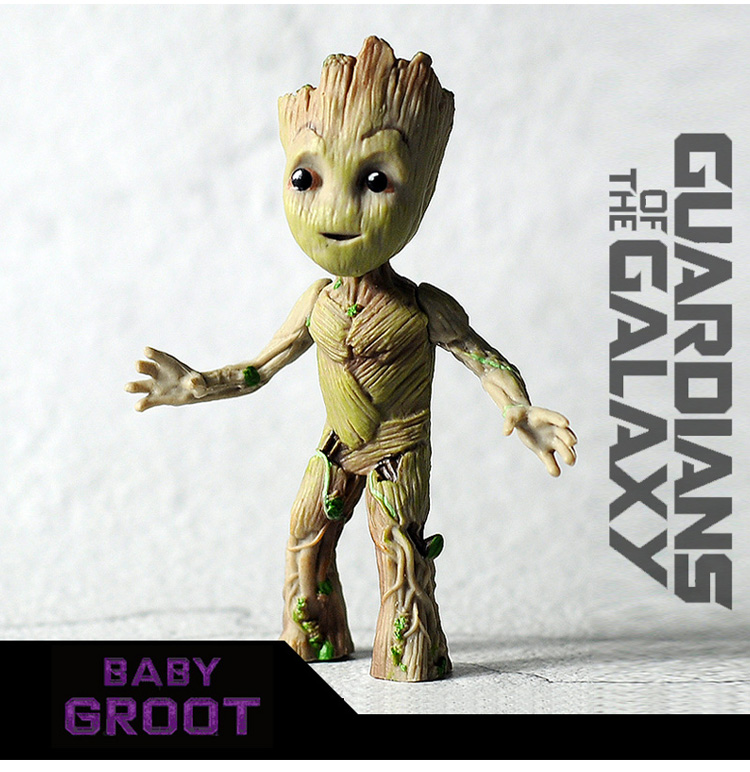 9.5cm Tree Man Baby Action Figure Doll Grunt Guardians of The Galaxy Model Toy Statue Ornaments Standing Groot Toy For Kids W04 crazy toy guardians of the galaxy groot rocket raccoon 6 24 action figure collection model toy gifts
