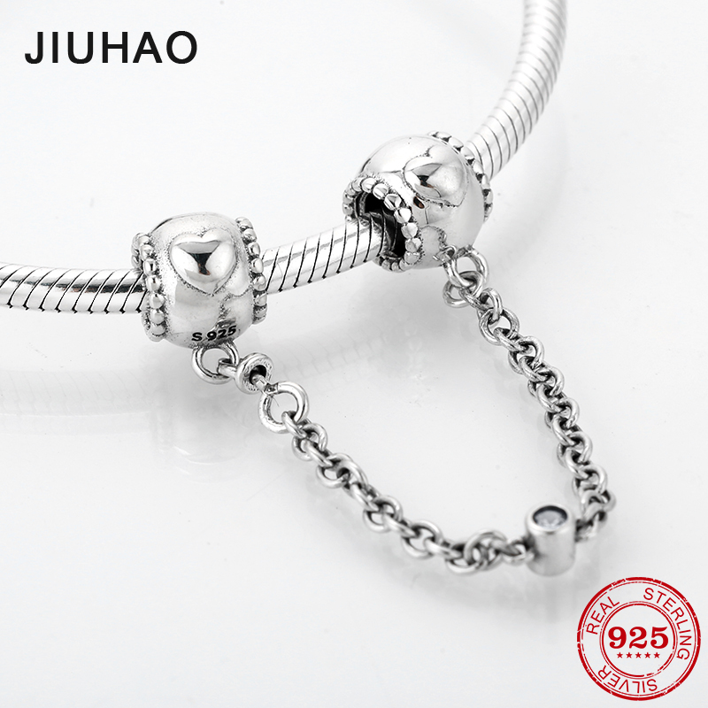 Fashion 925 Sterling Silver DIY Round Heart Pattern Fine Safety Chain Beads Fit Original Pandora Charms Bracelet Jewelry Making
