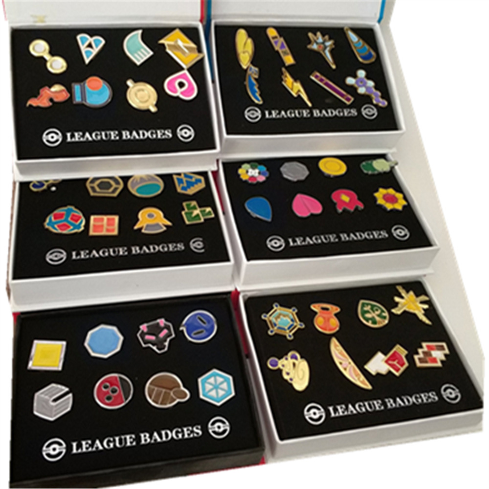 Pokemon Gym Badges Kanto Johto Hoenn Sinnoh Unova Kalos League Region Orange Islands Pins Brooches New in Box Set Gift