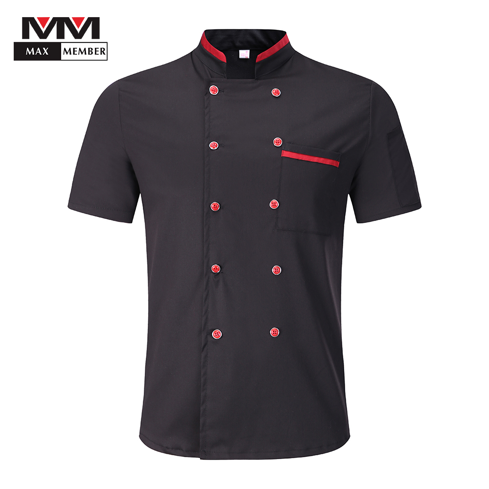 Men Women Casual Splicing Collar Double Breasted Short Sleeve Work Wear Pocket Chef Uniform Food Service Breathable Jacket Apron