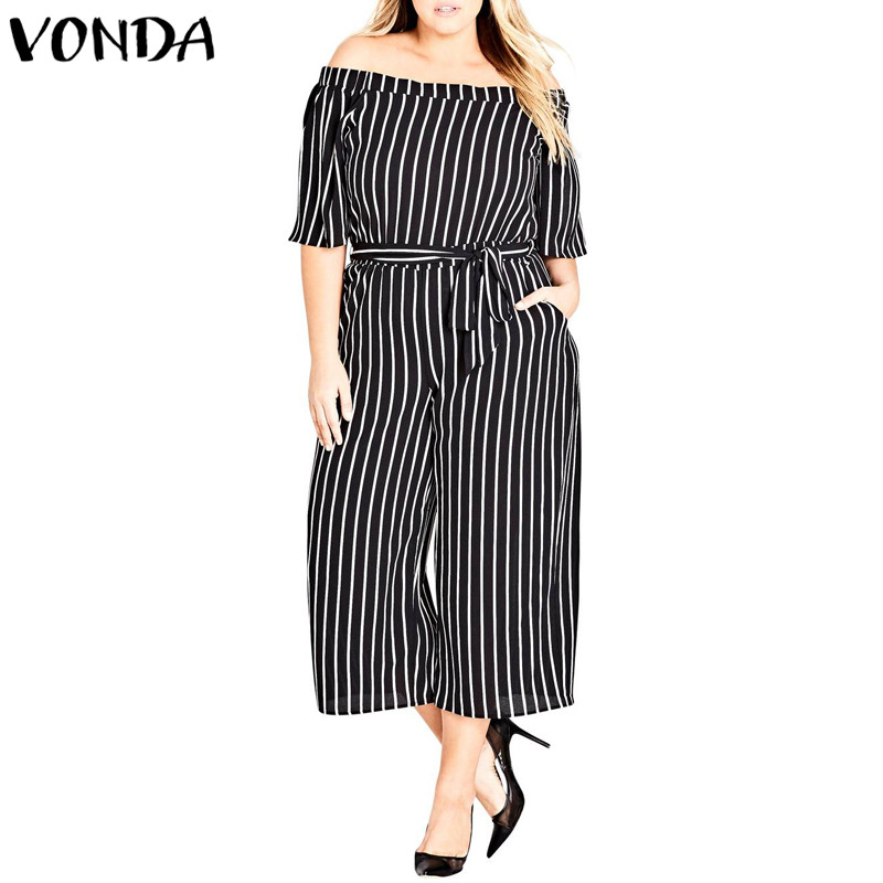 Striped Rompers Womens Jumpsuits 2018 Summer Women Casual Loose Pants Sexy Slash Neck Off Shoulder Playsuits Plus Size Overalls
