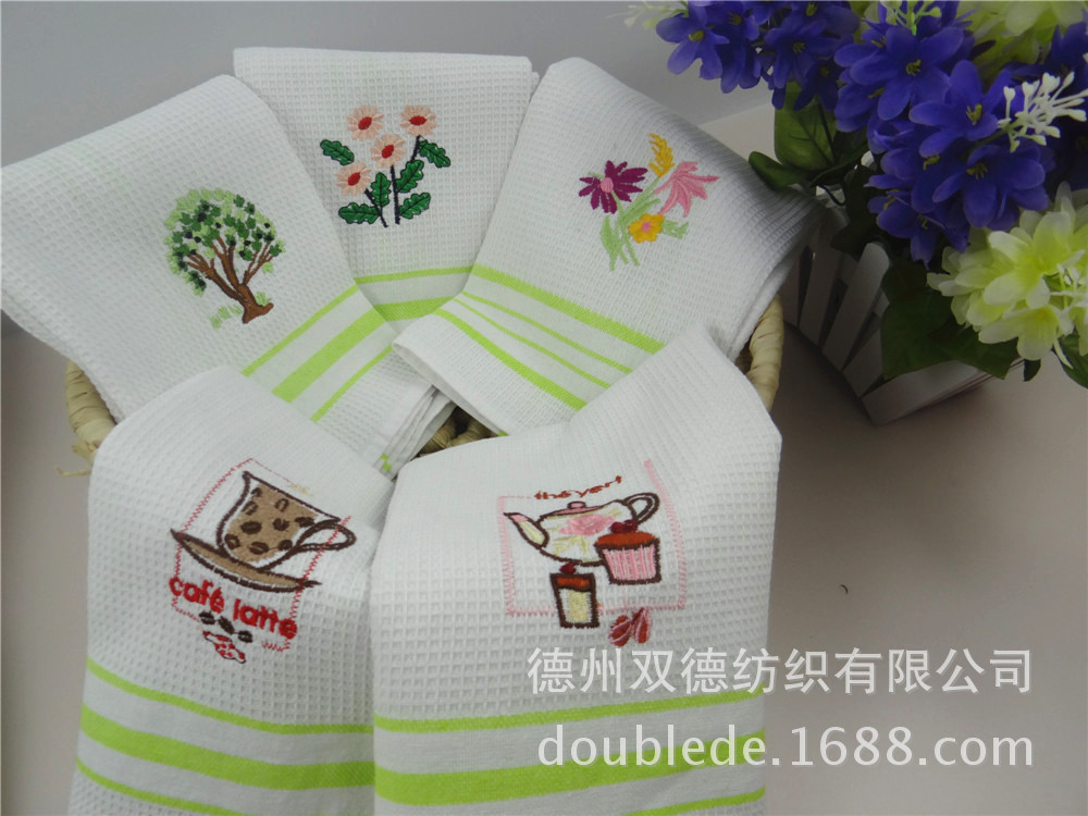 2016 New Arrival 5 Pack Cotton Kitchen Towels Cleaning Table Cloths  Embroidered Cover Towel Glasses Kitchen