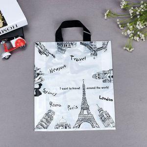 Image 3 - Оптовая продажа, 500 шт./лот, бутик с индивидуальным принтом логотипа, высококачественные пластиковые пакеты для покупок с ручкой, одежда, подарочные пакеты для упаковки