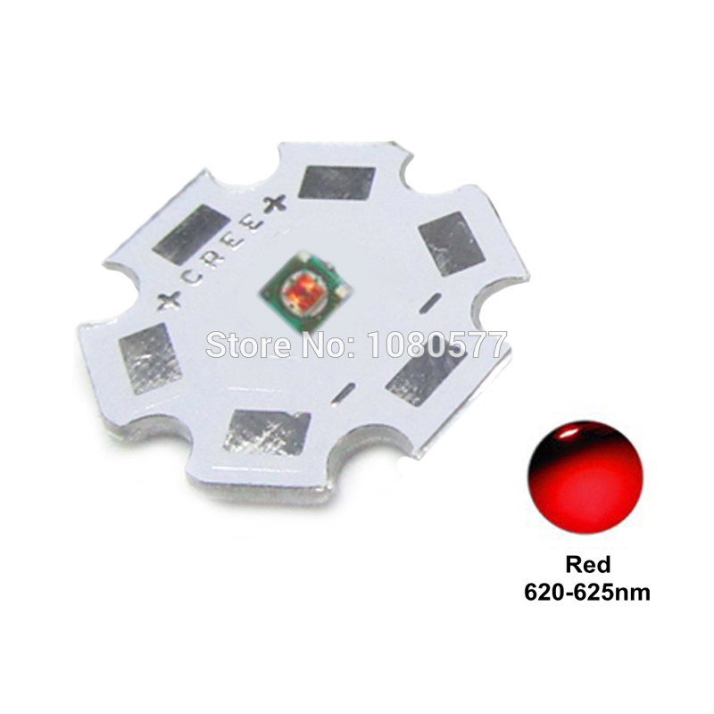10pcs-50pcs Cree <font><b>LED</b></font> XPE XP-E R3 1W-3W High Powr <font><b>LED</b></font> Red 620nm Green 520nm Blue <font><b>460nm</b></font> 3535 SMD Chip with 20mm 16mm Heatsink image