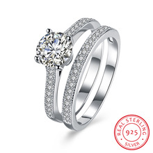 hot deal buy 100% pure 925 sterling silver jewelry fine circle rings big crystal stone ring for women wedding fine jewelry 2pcs lovers ring