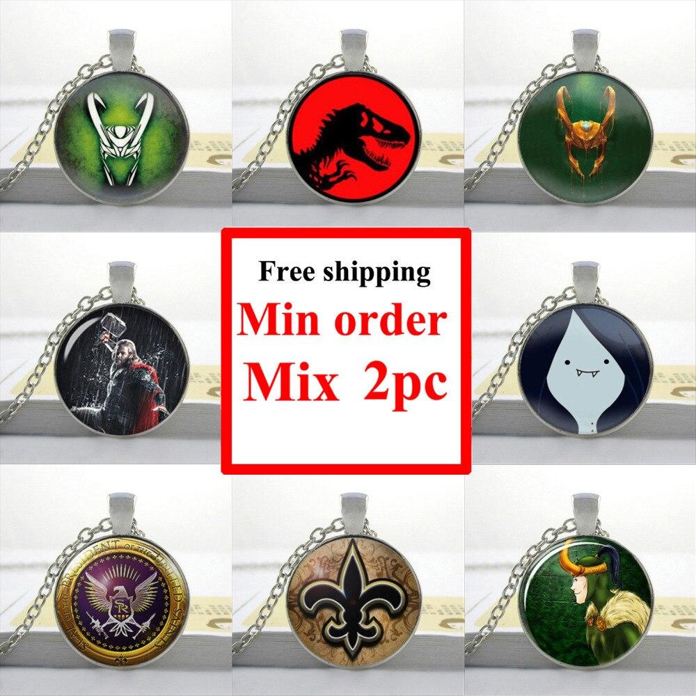 2016 Loki God of Mischief necklace Jurassic Park Necklace Movie Jewelry Art Glass Cabochon Necklace HZ1