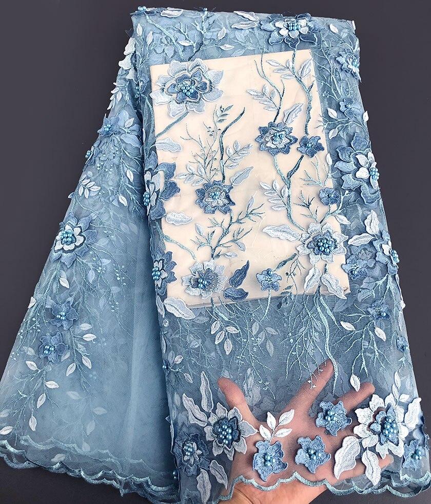 Super czyste haft niebo niebieski luksusowe tiul koronka afryki francuski koronki tkaniny 5 metrów/szt wysokiej jakości produkt, na pewno ci się spodoba to w Koronka od Dom i ogród na  Grupa 1