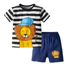 NewBoys Summer Short Sleeve Set Childrens Cotton Two-Piece Cartoon Lion Print T-Shirt Shorts