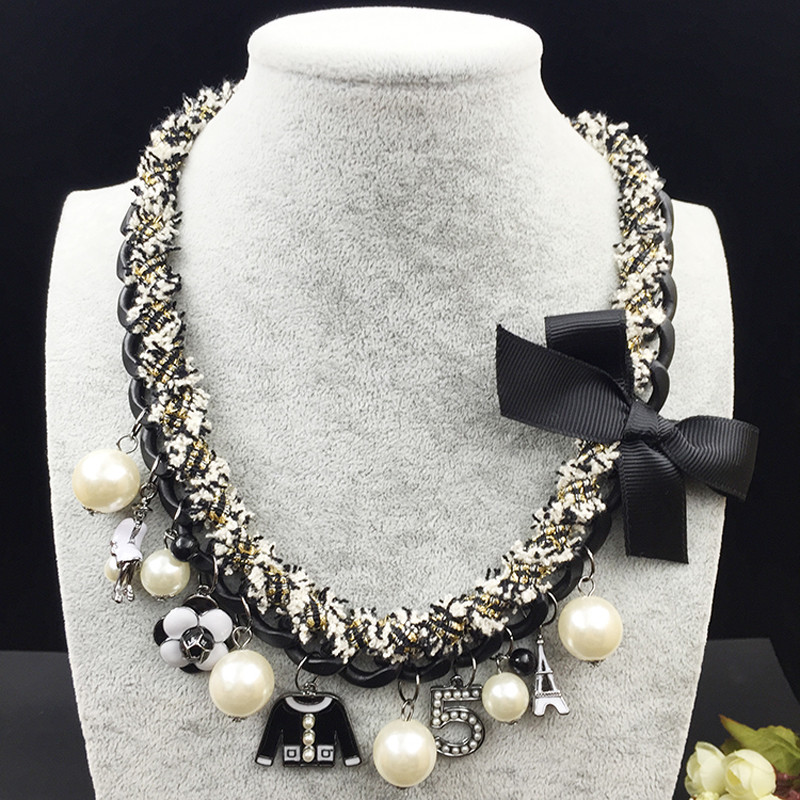 Charms Choker Necklace Women Camellia Letter 5 ABS Pearl Jewelry Classic Statement Necklaces Big CNANIYA Brand Fashion Jewellery 6