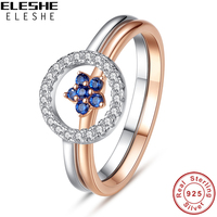 2017 Wholesale Round Finger Rings 925 Sterling Silver Rose Gold Color Fashion Silver Ring Set Blue