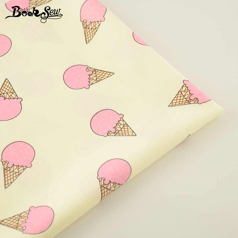 Flavescent Color Pink Ice-cream Pattern 100% Cotton Twill Fabric  Home Textile Quilting Tissue Swing Bedding Craft Decoration