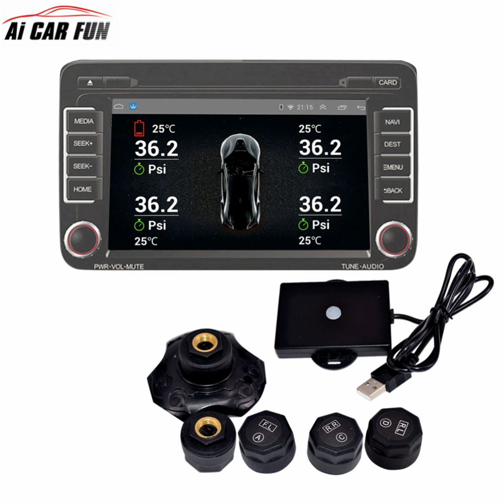 Ai CAR FUN TPMS for Android CAR DVD/MP5 Car Tire Pressure Monitoring System 4 Sensors Alarm Tire Temperature Monitoring System eanop tpms for android car dvd player car tire pressure monitoring system tyre auto security alarm systems usb 4 sensors