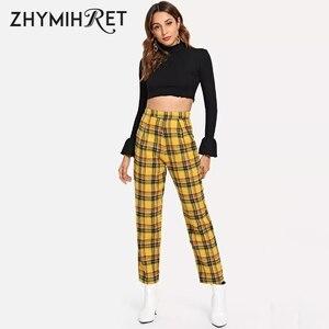 Image 3 - ZHYMIHRET Pantalon taille haute jaune à carreaux, Pantalon dété pour Femme, ample, fermeture éclair sur le côté, collection décontracté