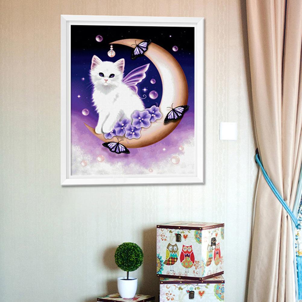 Hot Cute Moon Cat DIY PartialFull Diamond Painting Cross Stitch Craft Wall Decor