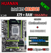 HUANAN golden V2.49 X79 motherboard LGA2011 ATX combos 2 x 8G 1866Mhz 16GB USB3.0 SATA3 PCI-E NVME M.2 SSD port support CPU