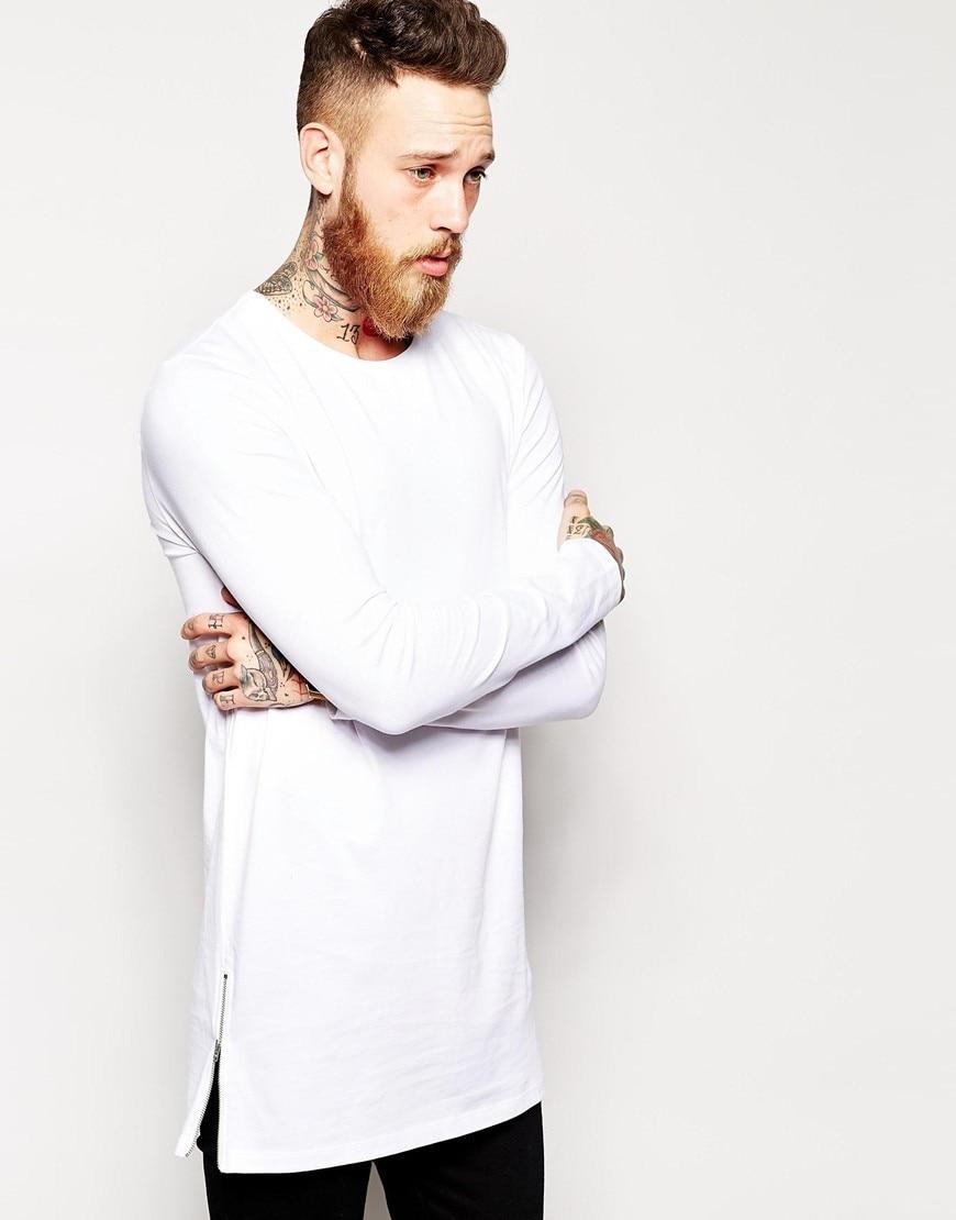 Plain black t shirt style - 2016 White Long Sleeve Men Long T Shirt Zipper T Shirt Solid Hip Hop Sweatshirt