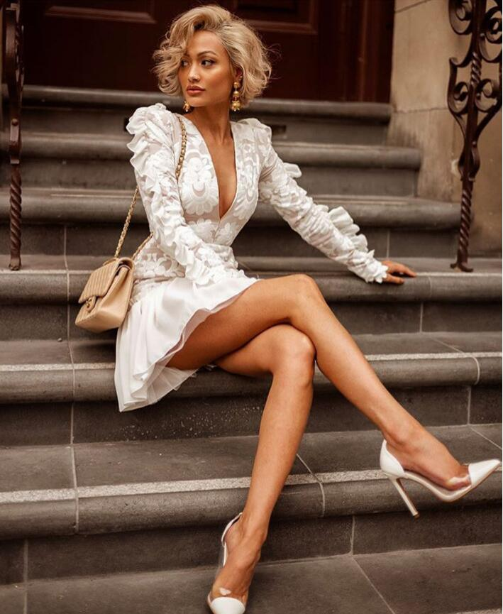 Mini Profond Office Lady Manches Printemps Mode Piste Robe Longues Tenue De Rxd85 Qualité Supérieure Fête Travail Blanc Col V D'hiver Sexy LGjVpSUqzM