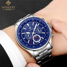 Mens Watches Top Luxury Brand WISHDOIT Men Full Steel Quartz Analog Watch Waterproof Sport Army Military Wristwatch