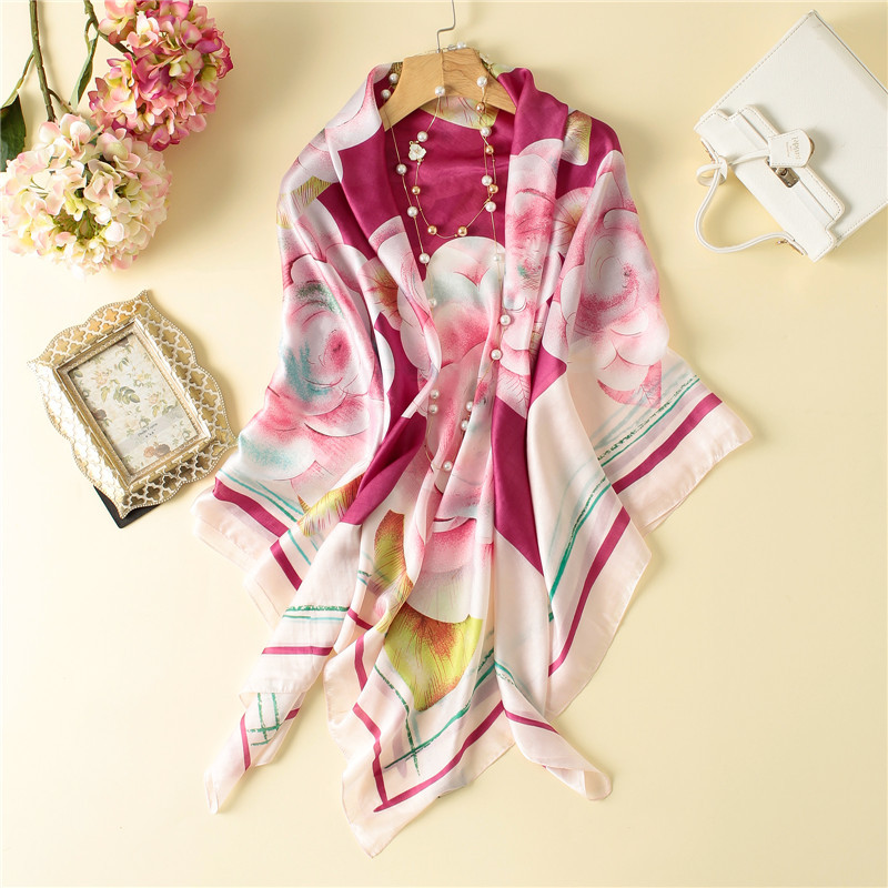 140*140 cmLuxury Brand Twill Silk Scarf Multicolor Square Scarves Paris Design Print Kerchief Woman Neck Shawl Wraps Echarpe
