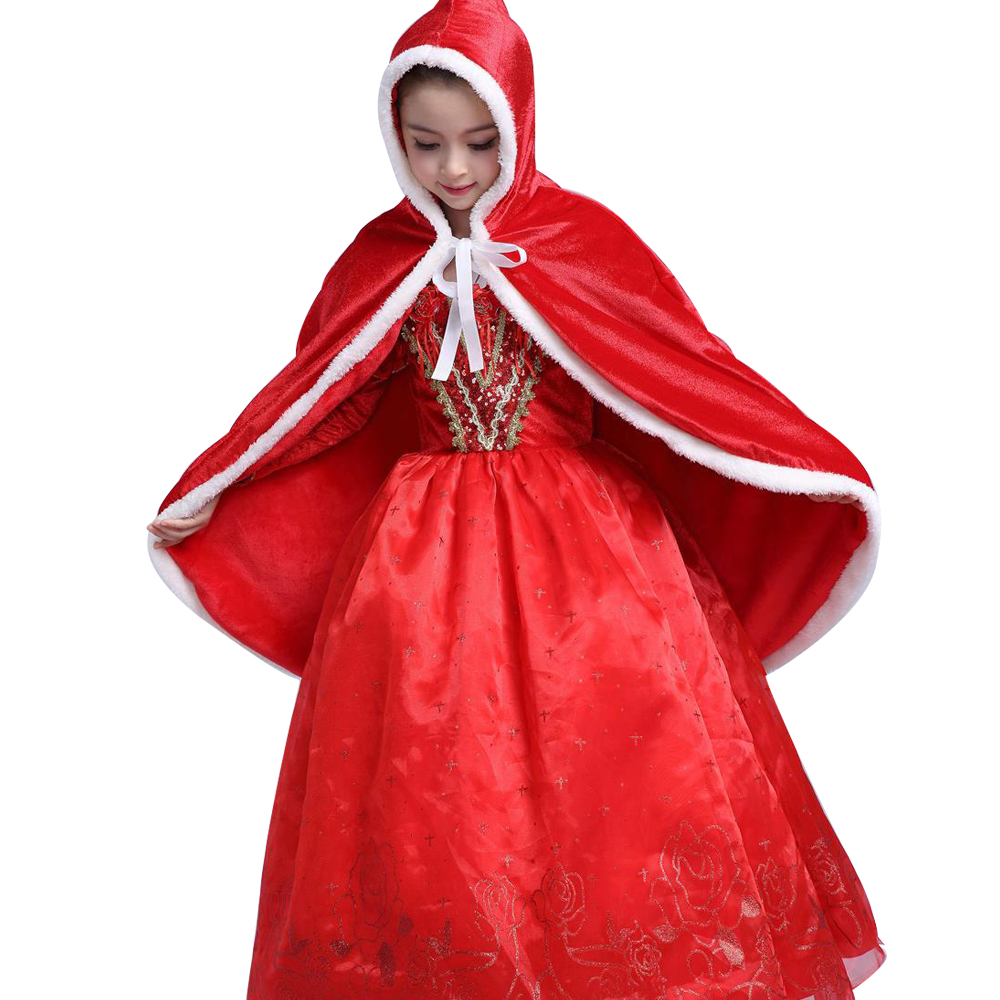 Baby Girl Little Red Riding Hood dress Kids Christmas Red Costume Long ball Gown dress Party clothes Princess Dress Halloween