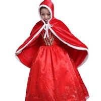 เด็กสาวชุด Little Red Riding Hood เด็กคริสต์มาสชุดสีแดงยาวชุดเสื้อผ้าพรรคชุดเจ้าหญิงฮาโลวีน