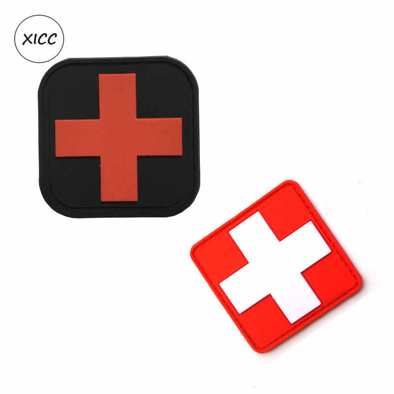 Outdoor First Aid PVC Red Cross Hook Badge Patch FP