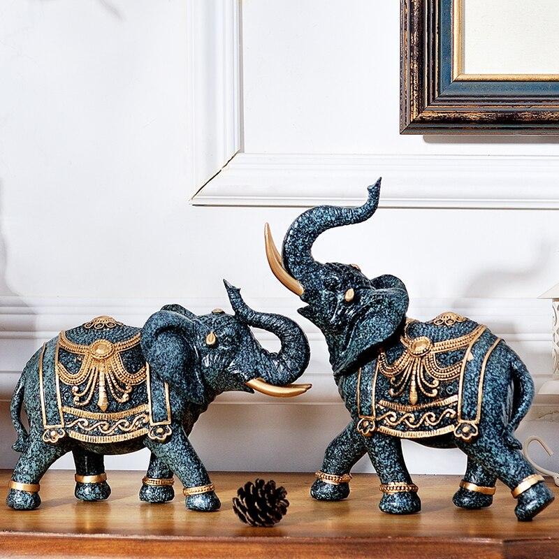 Salon décoration éléphant Tv armoire décoration artisanat jardin décor artisanat accessoires Feng Shui éléphant résine décor à la maison