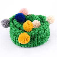 Children S Warm Collar Crochet Knitted Scarves Autumn Winter Fashion Baby Kids Scarf Small Ball Knitting