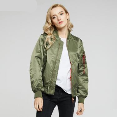 2018 New Spring and Autumn Women Thin Baseball Jackets Pilot Air Force Jackets Stand Color Clothes Solid Color Slim Outerwear