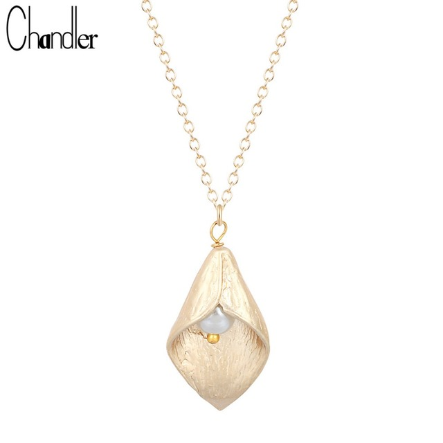 Silver Gold Plating Calla Lily Necklaces & Pendant For Women Flower With Simulated Pearl Charm Original Elegent Chic Accessories