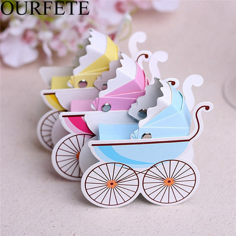50pcs Candy Box Baby Stroller Baby Shower Baby Birth Favors Boxes Baby Party Supplies Baptism Christening Gift Box Wedding Favor