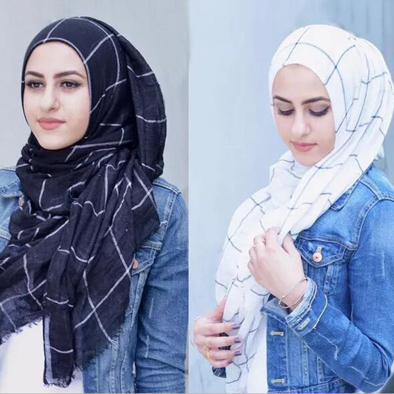 80*180cm Trendy Muslim Cotton Plaid Hijab Scarf Islamic Headscarf Tassel Scarfs For Ladies Muslim Scarves Foulard Femme Musulman
