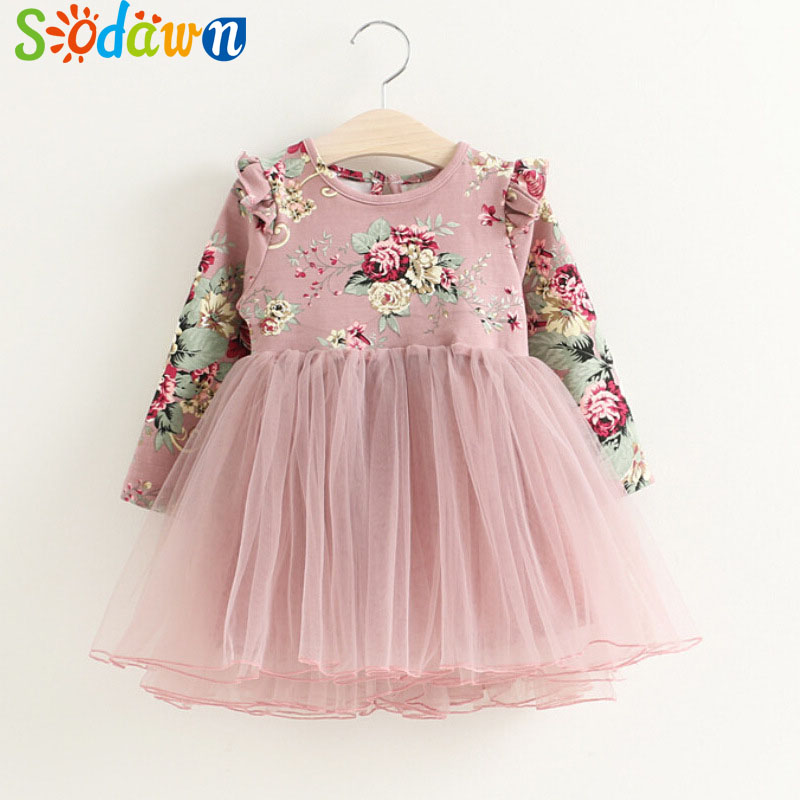 все цены на Sodawn Baby Girls Dress 2018 Spring Autumn New Fashion Printing Long-Sleeved Nets Pompon Princess Dress Children Clohting