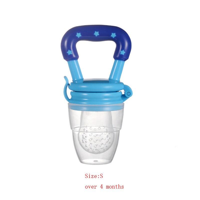 Силиконовый детский успокоитель младенцев Соска-пустышка детские соски Фидер для еда, фрукты пустышки для младенцев для кормления с соской - Цвет: Blue S