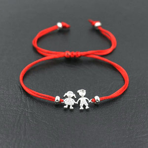 BPPCCR Sweet Cute Family Boys And Girls Braid Rope Bracelets Red Cords Line Thread String Bracelet For Sister Brother Pulseira(China)