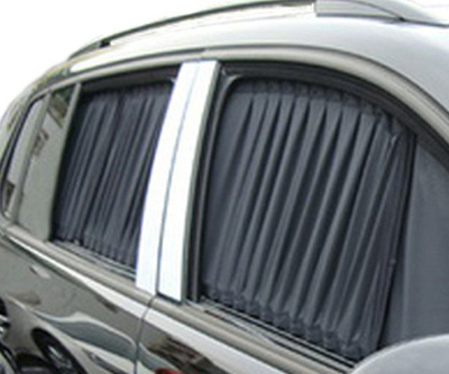 2pcs 50cm Mesh L Auto Car Rear Window Curtain Sunshade Drape Valance