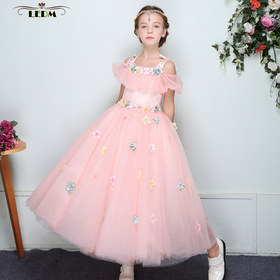 Communon   dresses   2019 new tulle   flowers   Boat Neck short sleeve a Line peach   flower     girl     dresses   for weddings long primera comuni