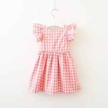 2019 Summer Sleeveless Plaid Baby Girl Clothes  Crew Neck Baby Dresses Kids Clothing Ruffles Backless Children Dress недорого