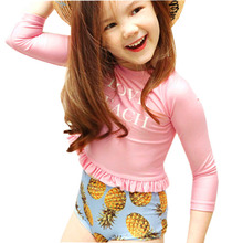 GI FOREVER Girl Two Pieces Suit With Cap Chlidren Long Sleeve Swimsuit Kid High Waist Pineapple Print Swimwear Bathing Suit
