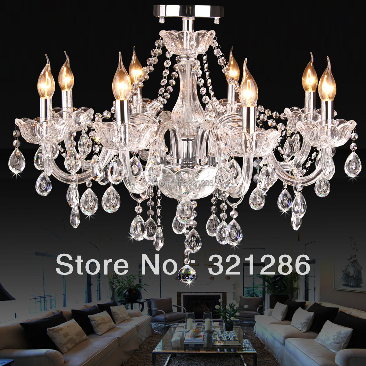 6/8 brazos Moda crystal k9 chandelier luces del dormitorio living crystal chandelier light led dormitorio candiles de cristal chan