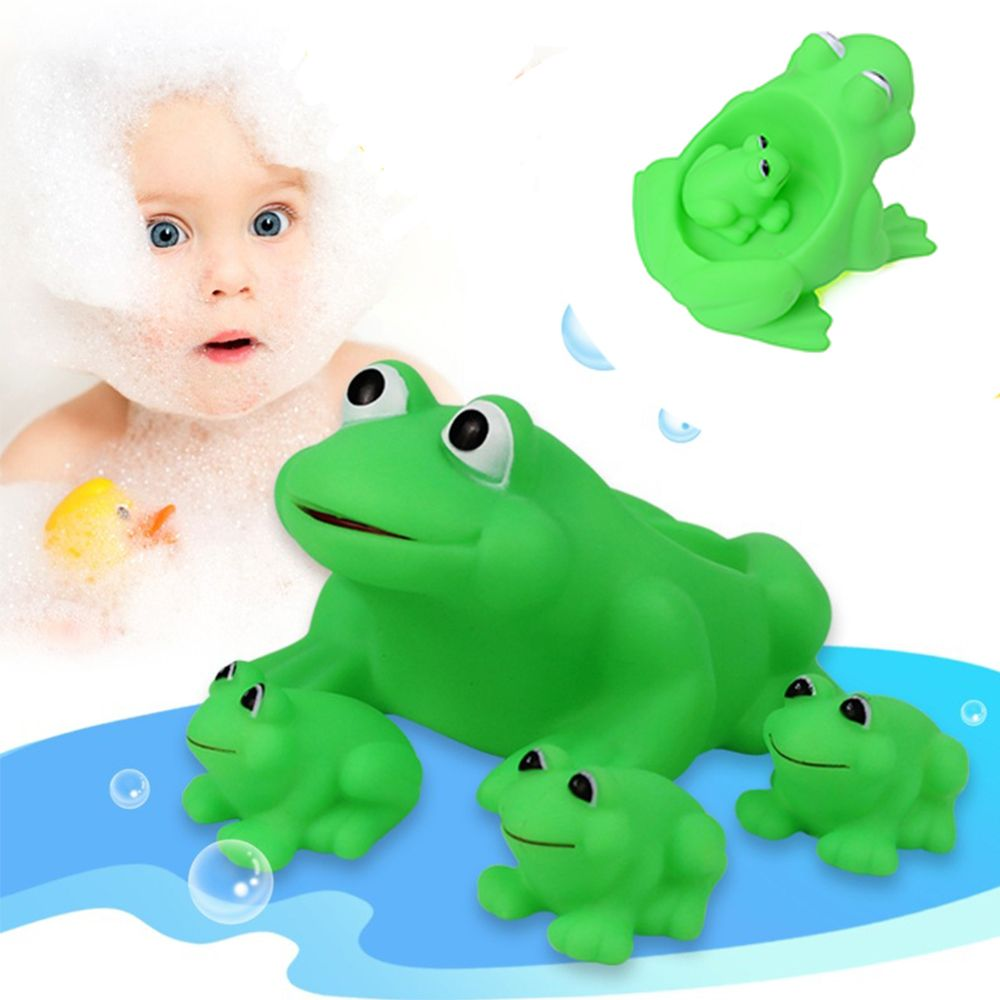 Frog bathroom set - 4pcs Set Cute Green Frog Shaped Float Squeaky Toy Baby Bath Toy Kids Gift Squeeze