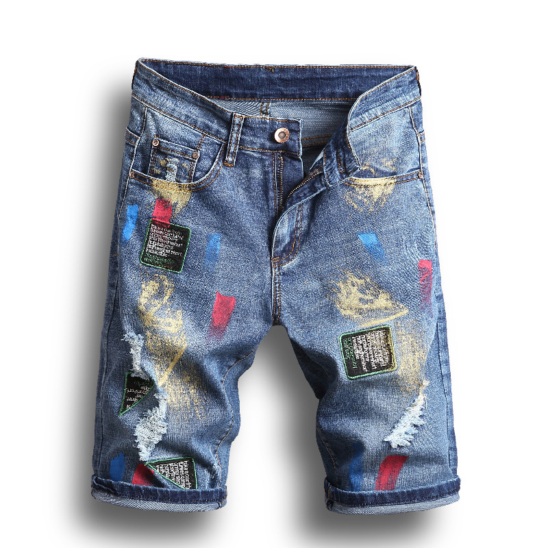 New 2018 Printed Patchwork Denim Ripped Short Hole   jeans