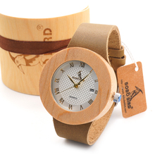 Women's Maple Wood Watch With White Dial