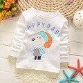 Crianças roupas Crianças Camiseta de Algodão Camisetas de Manga longa Para Meninos Dos Desenhos Animados Imprimir camisetas Da Moda Tops Meninas Roupas T Brancos