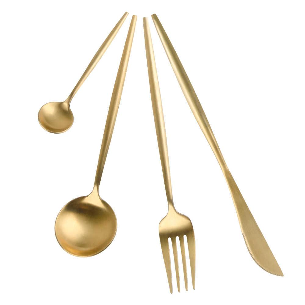 4 قطعة النقي الذهب أواني الطعام مجموعة المطبخ الغذاء طقم أواني مائدة الأوروبية أواني الطعام سكين 304 الفولاذ المقاوم للصدأ والسكاكين الغربي