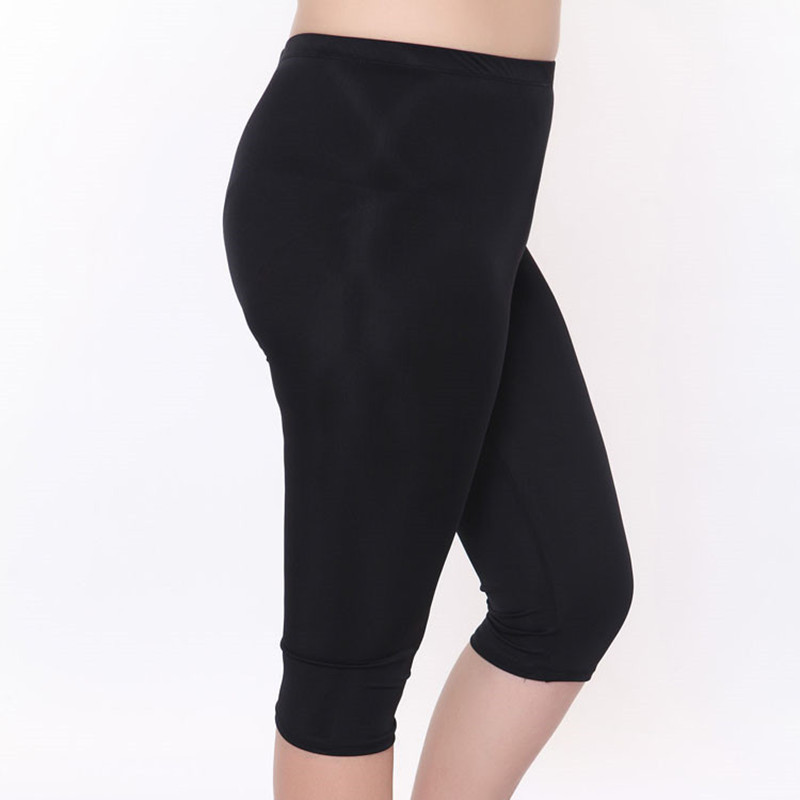 lady size XL summer capris women black short pants large size slim fitted pencil pant solid cool trousers