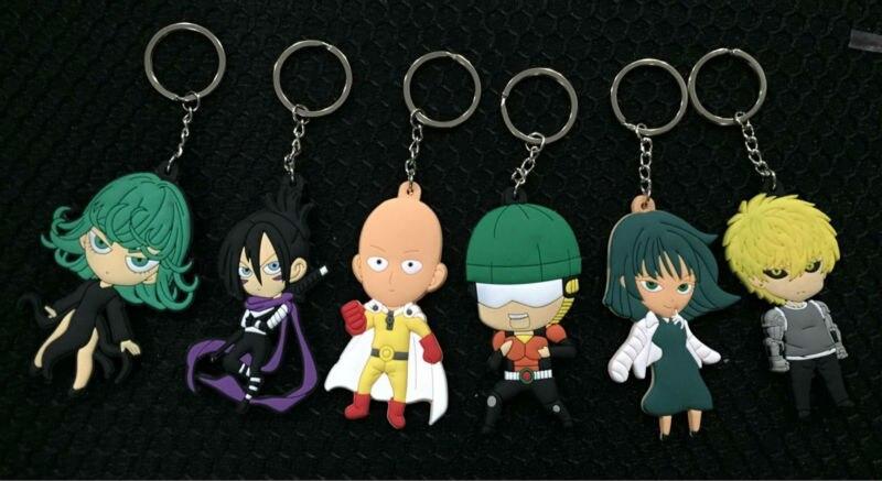 One Punch Man figures anime ONE PUNCH-MAN Saitama,Jie Nuosi,tatsumaki figures keychain pendant toys 6pcs/set free shipping