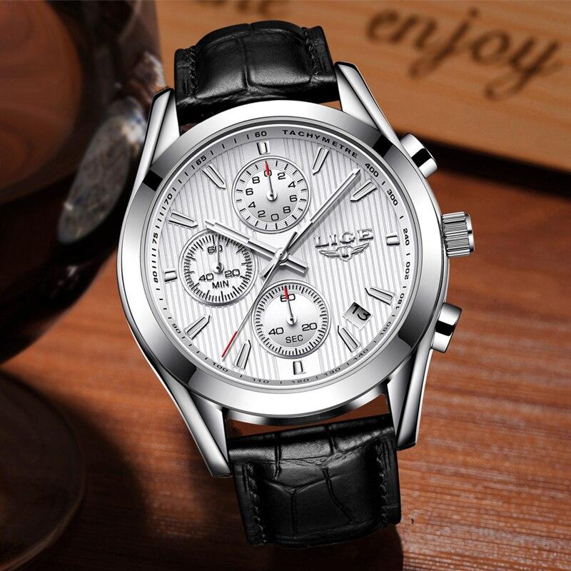 все цены на LIGE Top Luxury Brand Watch Men Quartz Sports Watches Men's Waterproof Casual Business Watch Leather Clock Relogio Masculino