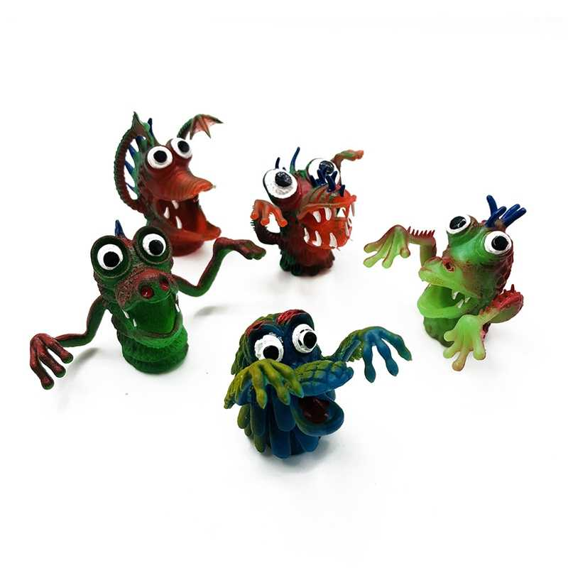 Marionetas de dedo simulación de dedos de monstruo muñecas animales de silicona Dedo de juguete marionetas divertidos niños Favor muñecas que cuentan Storys marioneta